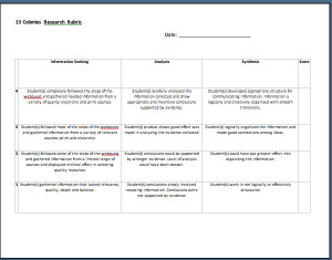 Colony Research Rubric